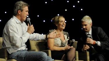 Glenn Robbins , Fifi Box and Jason Akermanis at a Shane Warne Foundation luncheon at Crown Casino in 2010.