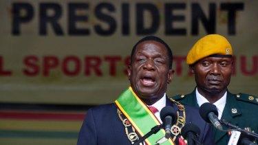 Zimbabwean President Emmerson Mnangagwa at his inauguration ceremony in Harare, Zimbabwe on November 24.