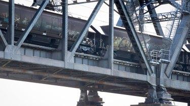 A coal train crosses the Hawkesbury river at Brooklyn.