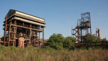 The two main structures of the derelict pesticide plant, which still have not been dismantled three decades on from the disaster.