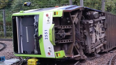 Seven people died when the tram rolled on a sharp bend.