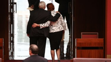Senator Brian Burston with One Nation leader Pauline Hanson.