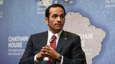 Mohammed bin Abdulrahman al Thani, Qatar's foreign minister, speaks at Chatham House in London.