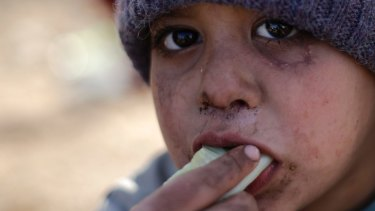 A Syrian boy displaced with his family from eastern Aleppo eats a vegetable in the village of Jibreen south of the city earlier this month.