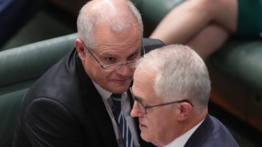 Prime Minister Malcolm Turnbull and Treasurer Scott Morrison during question time.