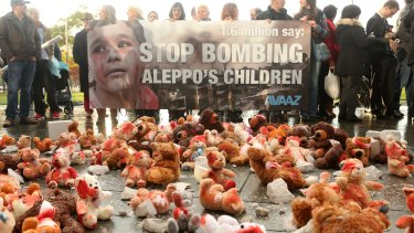 Bloodied teddy bears are seen during a demonstration against Russian military operations in Syria in Berlin in October 2016.