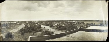View of the Werribee farm from the historic water tank at Cocoroc. Courtesy of Melbourne Water Archives
