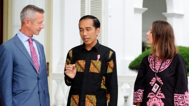 Indonesian President Joko Widodo being interviewed by Fairfax journalists Jewel Topsfield and Peter Hartcher at the presidential palace in Jakarta in November 2016. A visit planned at that time was cancelled due to unrest in the Indonesian capital.