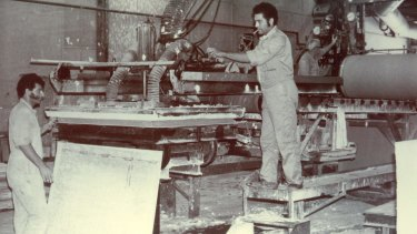 Workers at the former James Hardie asbestos factory in Sydney.