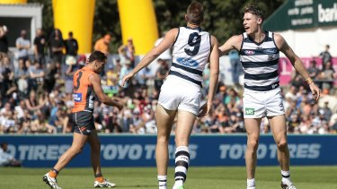 Rising challenge: Zac Smith and Mark Blicavs are among Geelong's options to tackle West Coast's Nic Naitanui.