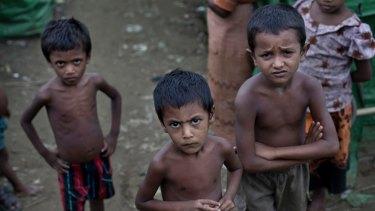 Rohingya children at the Dar Paing camp for Muslim refugees, western Rakhine state, Myanmar.