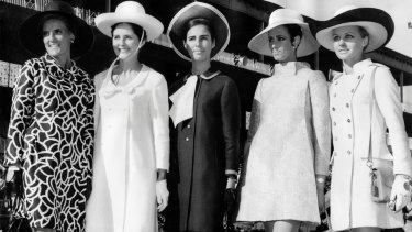 Final day winners of the Fashions in the Field contest held during the spring racing carnival at Flemington in 1967. Pictured were, from left: Mrs Ann Faulkner (open section), Mrs Cara Brett-Hall ($80 to $140 section), Miss Louise Strauss (under $80 section), Maggie Eckhardt (professional models section and designer's award) and Miss Gail Upton (most elegant hat).