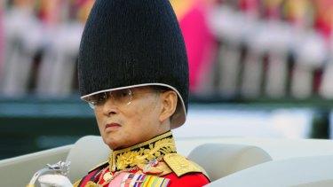 Thai King Bhumibol Adulyadej, in a military parade in Bangkok in 2007.