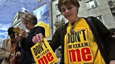 Macedonians in Skopje send protest cards in 2004 to the Council of Europe to promote the constitutional name of the Republic of Macedonia.