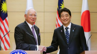 Malaysian Prime Minister Najib Razak, left, meets his Japanese counterpart, Shinzo Abe, during the week.