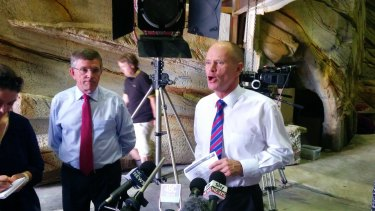 Premier Campbell Newman and Arts Minister Ian Walker on the Gold Coast set of mermaid show Mako Mermaids.
