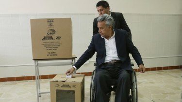 Elected: Lenin Moreno votes in the presidential run-off election in Quito, Ecuador, on Sunday.
