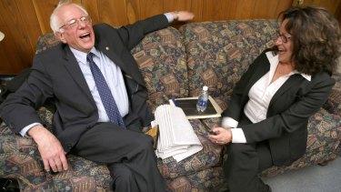 Bernie Sanders with Lorena Lopez, editor of Iowa-based Spanish-language newspaper <i>La Prensa</i>.