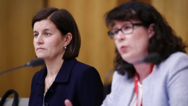 Commonwealth Bank Wealth Management general executive Annabel Spring and CommInsure managing director Helen Troup during a public hearing on the life insurance industry.