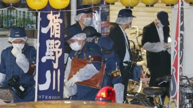 The crime scene where Tomohiro Iwazaki, a fan of singer Mayu Tomita, reportedly attacked her.