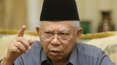 Indonesia Ulema Council (MUI) chairman Ma'ruf Amin speaks during an interview with Fairfax Media on Tuesday.