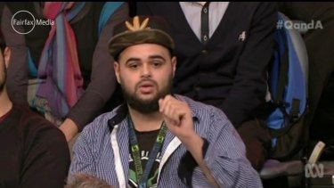 Zaky Mallah in his controversial appearance on the ABC's <i>Q&A</i> program.