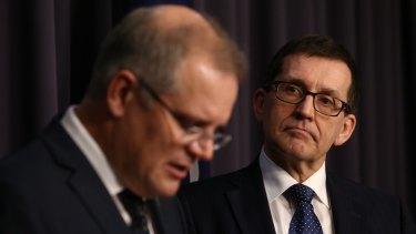 Treasurer Scott Morrison and Professor Ian Harper last year.