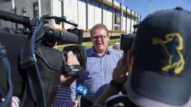 Legal action: Brumbies' Michael Jones leaves the ACT Supreme Court last month.