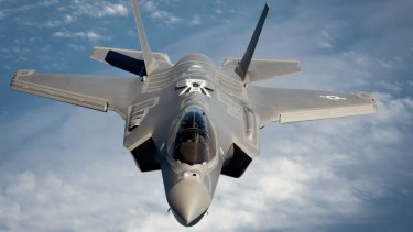 An F-35 in flight off the coast of Florida.