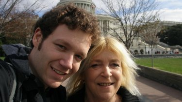 Happy snap: Joel and  his mother, Starlena, at Capitol Hill in Washington D. C.