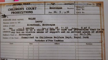 "A charge sheet showing Larry Walsh was charged with the criminal offence of being ""deemed in need of care and protection"" at age 2."