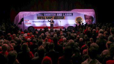 Opposition Leader Bill Shorten unveils his Medicare bus during the campaign.