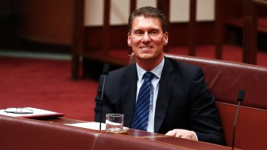 Senator Cory Bernardi during a division on Thursday.