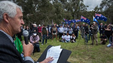 Saturday's anti-Muslim rally was called to oppose the placement of Syrian refugees at a local aged care facility.