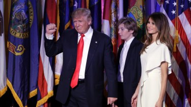 """""""I thank you and especially for putting up with all of those hours. This was tough"""": President-elect Donald Trump thanks wife Melania."""