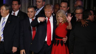 US President-elect Donald Trump and campaign manager Kellyanne Conway.