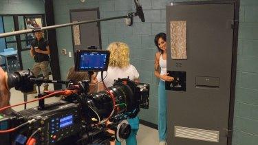 Nicole da Silva (right), who has found fame as Franky Doyle in the prison drama <i>Wentworth</I>, on set with fellow actor Celia Ireland, who plays Liz Birdsworth.