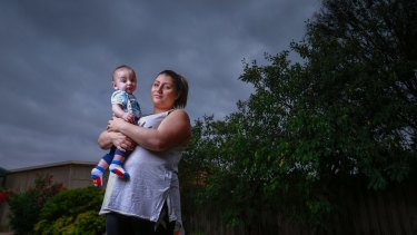 Jackie Falzon and her son, Frankie. She remembers gasping for breath and sobbing in terror.