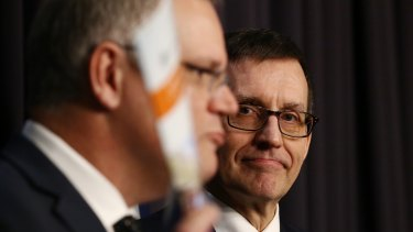 Treasurer Scott Morrison releases the government's response to the competition policy review with review author Professor Ian Harper at Parliament House on Tuesday.