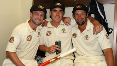 Phil Hughes celebrates victory against South Africa in 2009 with fellow Test debutants Marcus North and Ben Hilfenhaus.