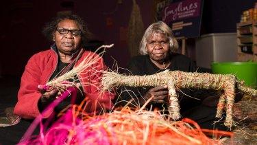 Desert weavers Dorcas Bennett and Rene Nelson of Western Australia.