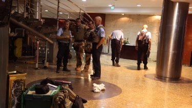 French troops in the Radisson Blu hotel after the attack.