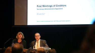 Administrators from KordaMentha address creditors at the first meeting in Sydney.