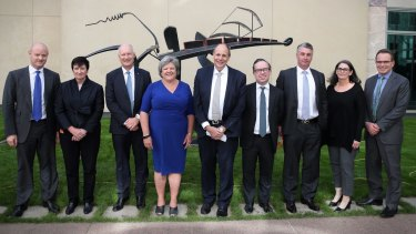 The Business Council of Australia, from left: Ian Narev, Jennifer Westacott, Richard Goyder, Joanne Farrell (not on board), Grant King, Alan Joyce, Brent Eastwood (not on board), Catherine Tanna and Andrew Mackenzie at Parliament House.