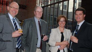 Greg Ellis, former Jon Stanhope staffer Greg Friedewald, Meegan Fitzharris and husband Pierre Huetter, right, pictured in 2011.