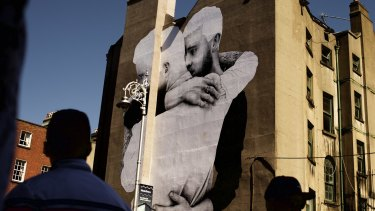 A pro-equality mural by artist Joe Caslin on the side of the Mercantile building in Dublin.