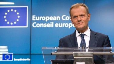 European Council President Donald Tusk announces the deal on Thursday.