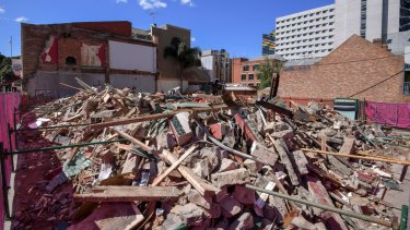 Carlton's Corkman Irish Pub after its illegal demolition in October.