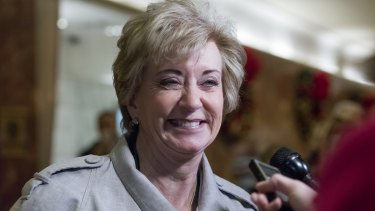 Linda McMahon talks after a meeting with President-elect Donald Trump at Trump Tower in New York.