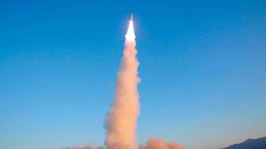 A Pukguksong-2 is launched at an undisclosed location in North Korea. The Kim regime has devoted much of the country's scarce resources to its military.